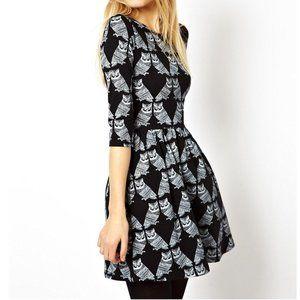 ASOS Black & White Owl Print Dress
